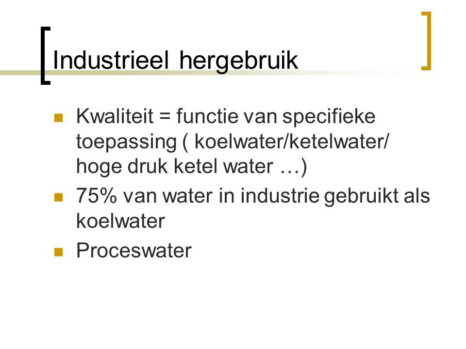 Industrieel hergebruik Kwaliteit = functie van specifieke toepassing ( koelwater/ketelwater/ hoge druk ketel water …) 75% van water in industrie gebruikt als koelwater Proceswater