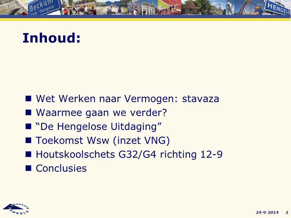 """24-9-20142 Wet Werken naar Vermogen: stavaza Waarmee gaan we verder? """"De Hengelose Uitdaging"""" Toekomst Wsw (inzet VNG) Houtskoolschets G32/G4 richting"""