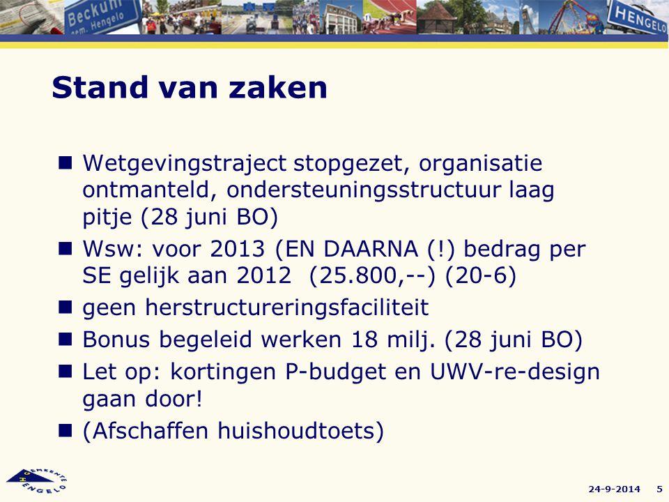 24-9-20145 Wetgevingstraject stopgezet, organisatie ontmanteld, ondersteuningsstructuur laag pitje (28 juni BO) Wsw: voor 2013 (EN DAARNA (!) bedrag p
