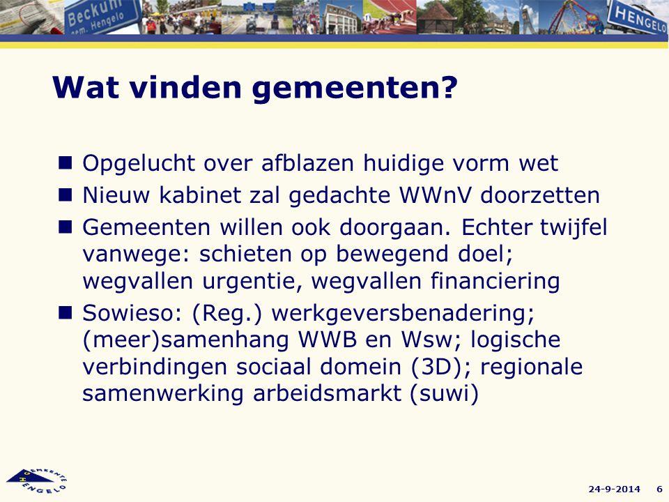 24-9-20147 (Regionale) werkgeversbenadering Inspelen op kortingen P-budget (Nota Sterker aan het Werk): directe plaatsing (5+6), re- integratietrajecten,(3+4+5) maatschappelijke participatie (1+2) Wsw: mensontwikkeling, van binnen naar buiten, detacheren, groepsdetacheringen (Post.nl) Toegroei Wsw beschut en (arbeidsmatige) dagbesteding Waar gaan we mee door?