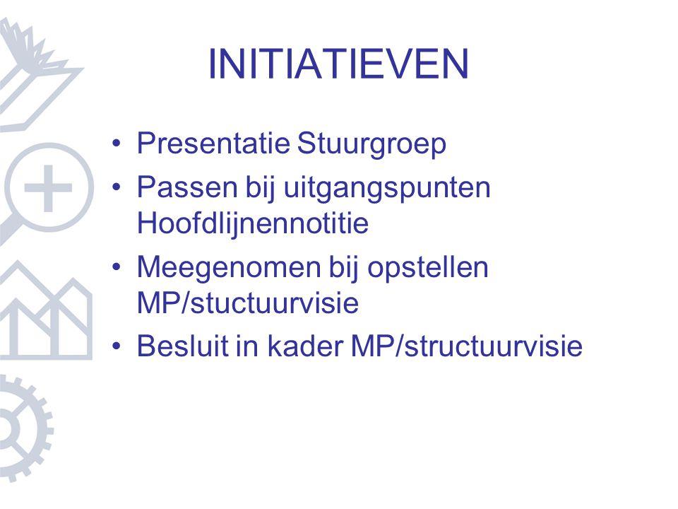 INITIATIEVEN Presentatie Stuurgroep Passen bij uitgangspunten Hoofdlijnennotitie Meegenomen bij opstellen MP/stuctuurvisie Besluit in kader MP/structu