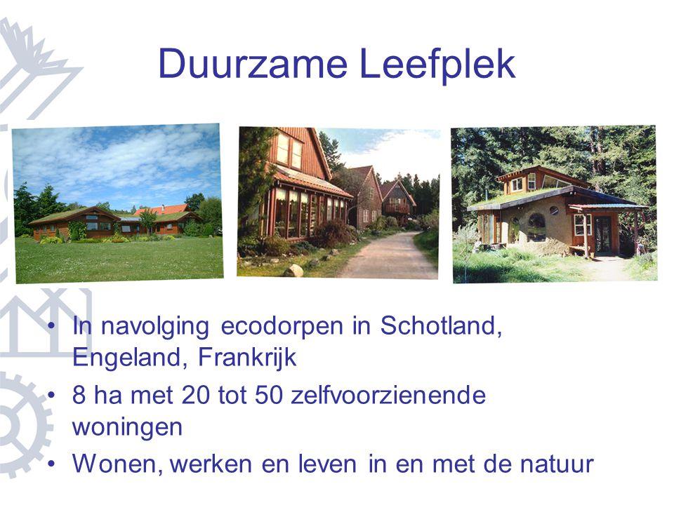 Duurzame Leefplek In navolging ecodorpen in Schotland, Engeland, Frankrijk 8 ha met 20 tot 50 zelfvoorzienende woningen Wonen, werken en leven in en m