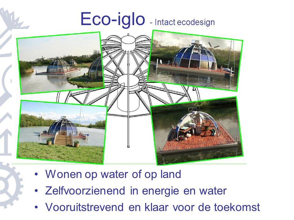 Eco-iglo - Intact ecodesign Wonen op water of op land Zelfvoorzienend in energie en water Vooruitstrevend en klaar voor de toekomst
