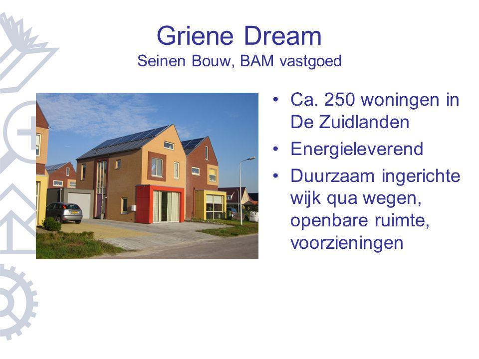 Griene Dream Seinen Bouw, BAM vastgoed Ca. 250 woningen in De Zuidlanden Energieleverend Duurzaam ingerichte wijk qua wegen, openbare ruimte, voorzien