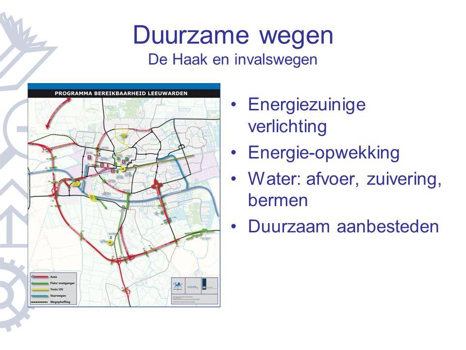 Duurzame wegen De Haak en invalswegen Energiezuinige verlichting Energie-opwekking Water: afvoer, zuivering, bermen Duurzaam aanbesteden