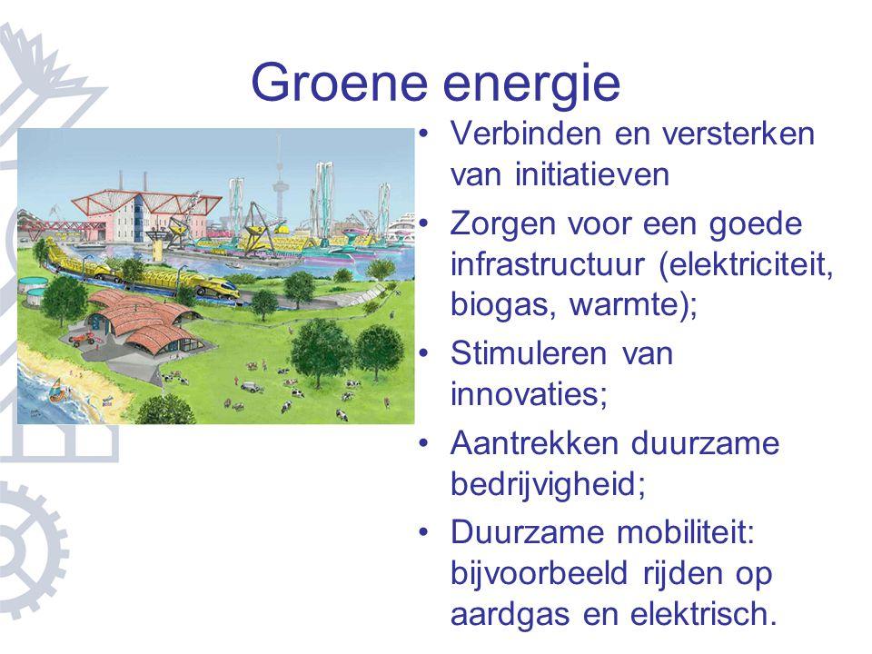 Groene energie Verbinden en versterken van initiatieven Zorgen voor een goede infrastructuur (elektriciteit, biogas, warmte); Stimuleren van innovatie