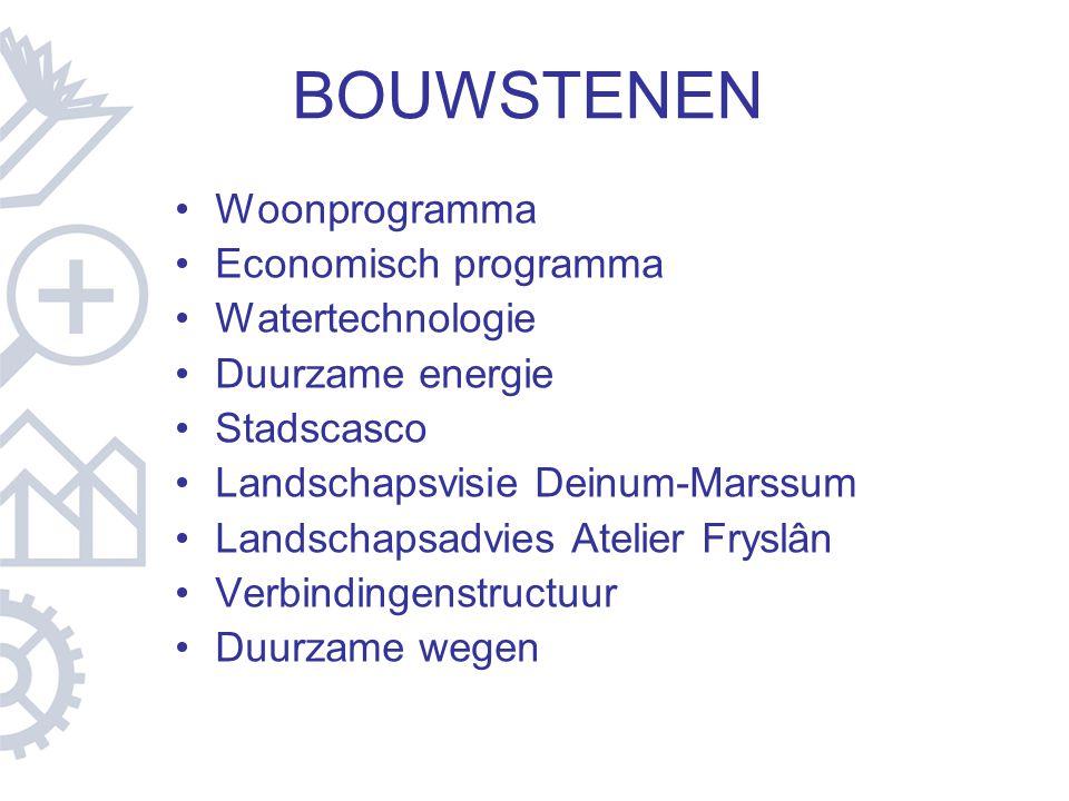 BOUWSTENEN Woonprogramma Economisch programma Watertechnologie Duurzame energie Stadscasco Landschapsvisie Deinum-Marssum Landschapsadvies Atelier Fry