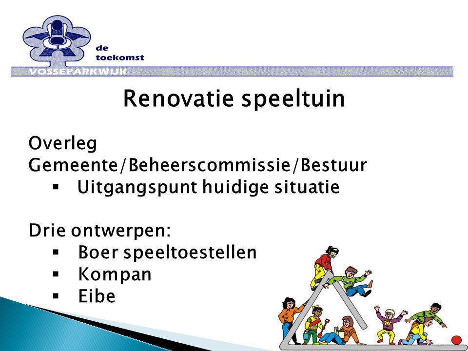 Renovatie speeltuin Overleg Gemeente/Beheerscommissie/Bestuur  Uitgangspunt huidige situatie Drie ontwerpen:  Boer speeltoestellen  Kompan  Eibe