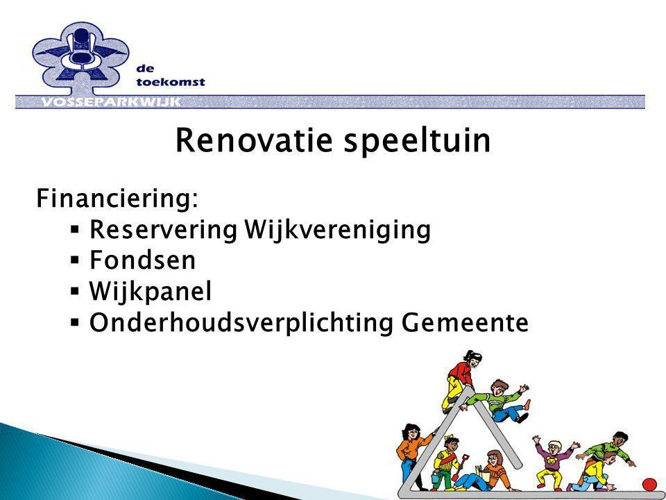 Renovatie speeltuin Financiering:  Reservering Wijkvereniging  Fondsen  Wijkpanel  Onderhoudsverplichting Gemeente