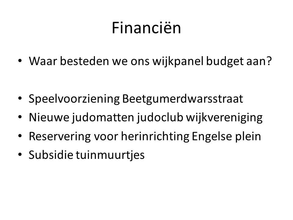 Financiën Waar besteden we ons wijkpanel budget aan? Speelvoorziening Beetgumerdwarsstraat Nieuwe judomatten judoclub wijkvereniging Reservering voor
