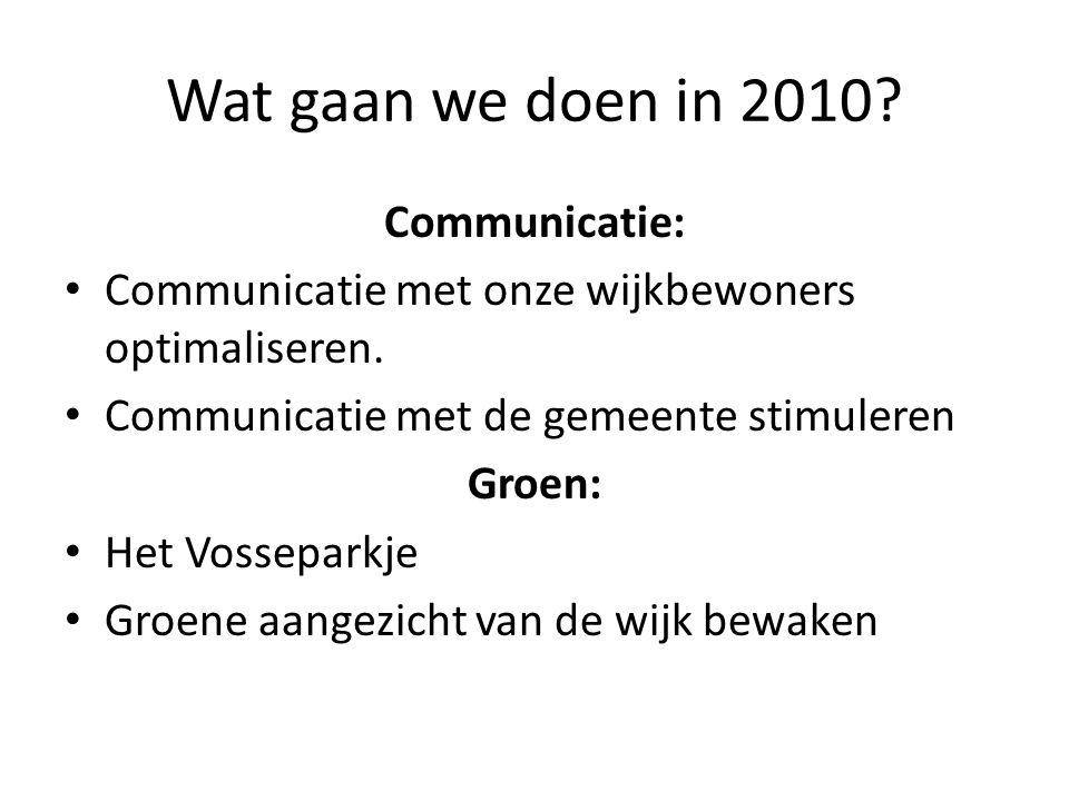 Wat gaan we doen in 2010? Communicatie: Communicatie met onze wijkbewoners optimaliseren. Communicatie met de gemeente stimuleren Groen: Het Vossepark