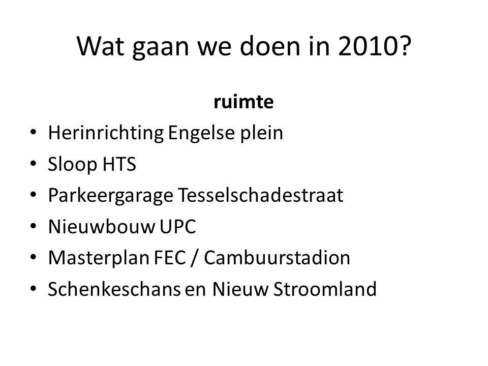 Wat gaan we doen in 2010? ruimte Herinrichting Engelse plein Sloop HTS Parkeergarage Tesselschadestraat Nieuwbouw UPC Masterplan FEC / Cambuurstadion