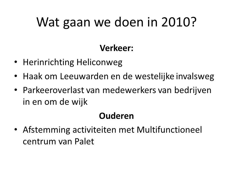 Wat gaan we doen in 2010? Verkeer: Herinrichting Heliconweg Haak om Leeuwarden en de westelijke invalsweg Parkeeroverlast van medewerkers van bedrijve
