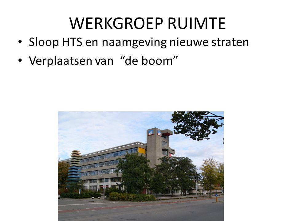 """WERKGROEP RUIMTE Sloop HTS en naamgeving nieuwe straten Verplaatsen van """"de boom"""""""