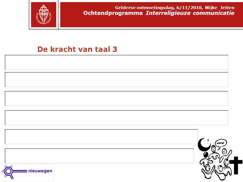 De kracht van taal 3 Ochtendprogramma Interreligieuze communicatie Gelderse ontmoetingsdag, 6/11/2010, Mijke Jetten