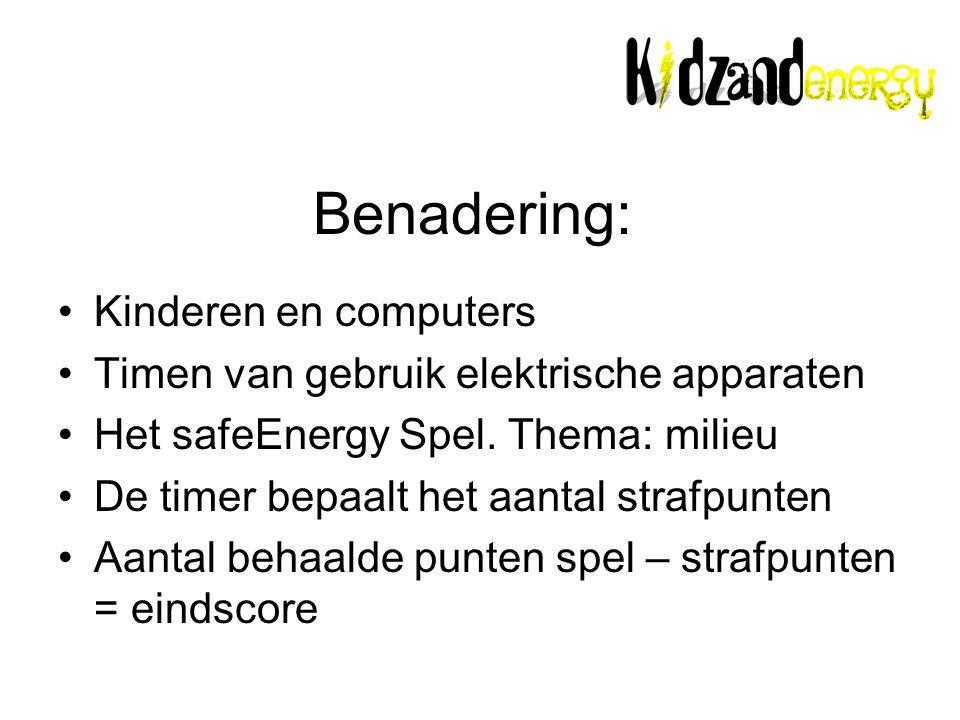 Benadering: Kinderen en computers Timen van gebruik elektrische apparaten Het safeEnergy Spel.