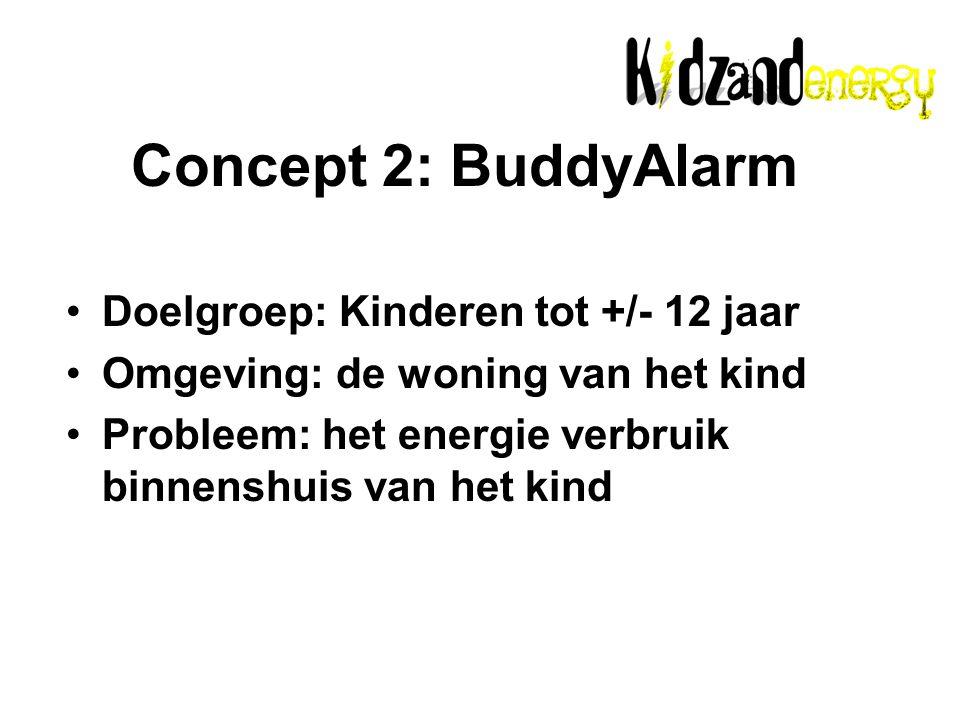 Doelgroep: Kinderen tot +/- 12 jaar Omgeving: de woning van het kind Probleem: het energie verbruik binnenshuis van het kind Concept 2: BuddyAlarm
