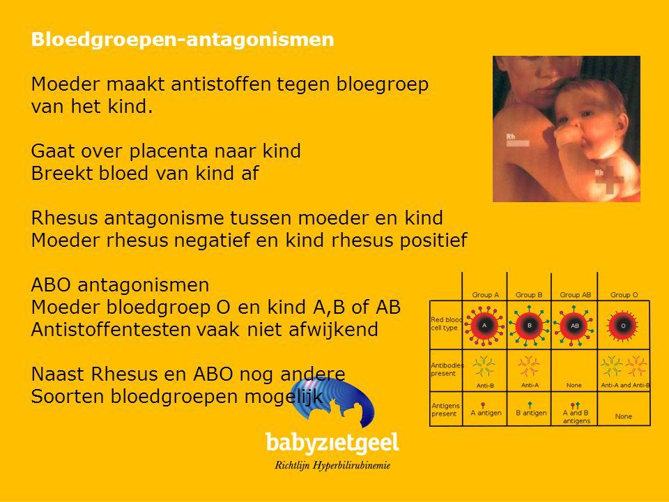 Bloedgroepen-antagonismen Moeder maakt antistoffen tegen bloegroep van het kind. Gaat over placenta naar kind Breekt bloed van kind af Rhesus antagoni