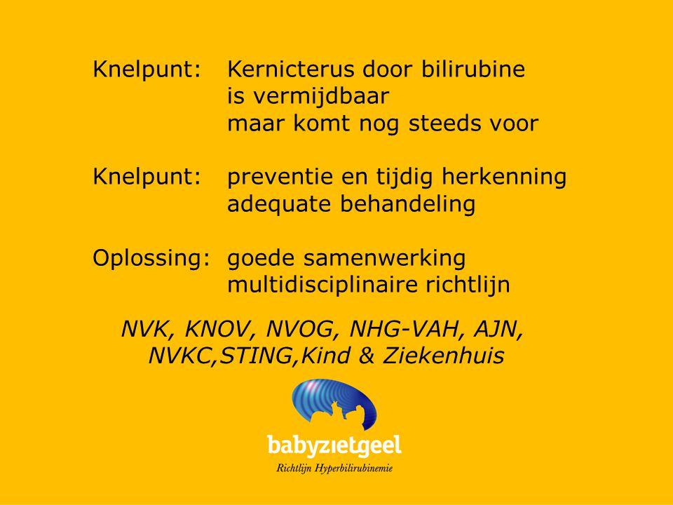 Knelpunt:Kernicterus door bilirubine is vermijdbaar maar komt nog steeds voor Knelpunt:preventie en tijdig herkenning adequate behandeling Oplossing:goede samenwerking multidisciplinaire richtlijn NVK, KNOV, NVOG, NHG-VAH, AJN, NVKC,STING,Kind & Ziekenhuis