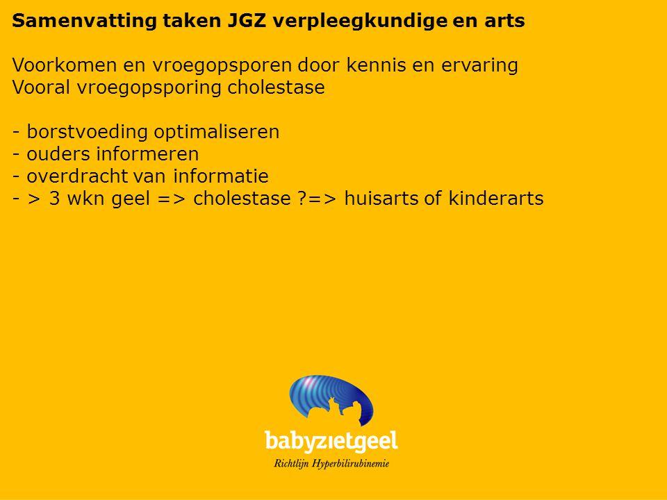 Samenvatting taken JGZ verpleegkundige en arts Voorkomen en vroegopsporen door kennis en ervaring Vooral vroegopsporing cholestase - borstvoeding optimaliseren - ouders informeren - overdracht van informatie - > 3 wkn geel => cholestase ?=> huisarts of kinderarts