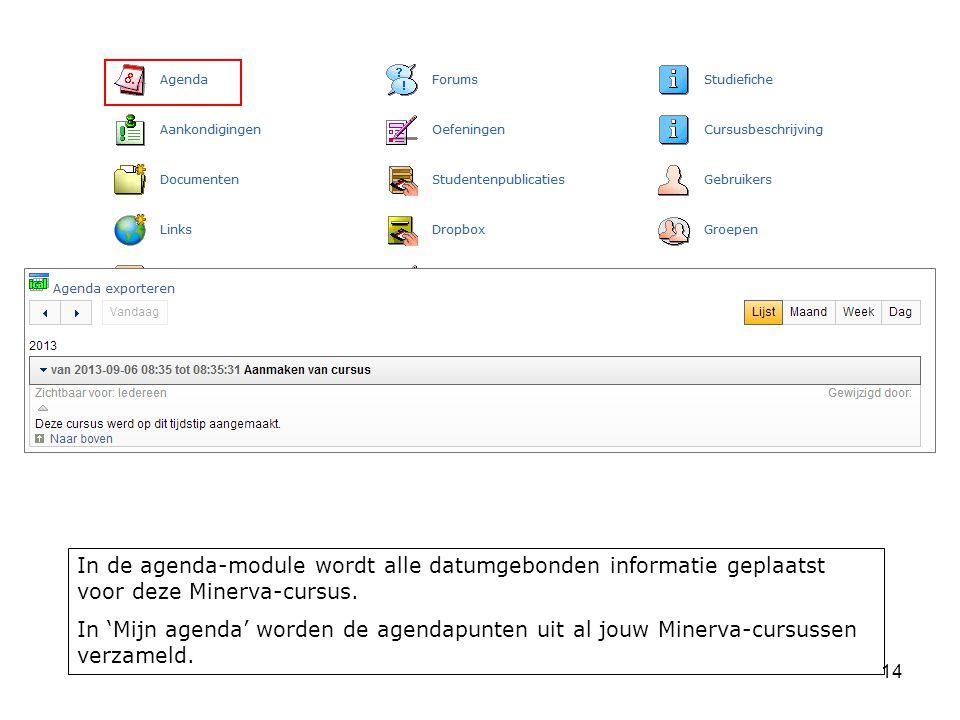 14 In de agenda-module wordt alle datumgebonden informatie geplaatst voor deze Minerva-cursus.
