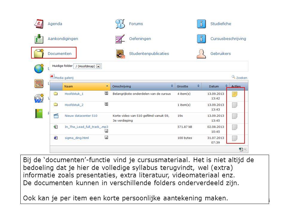 16 Bij de 'documenten'-functie vind je cursusmateriaal.