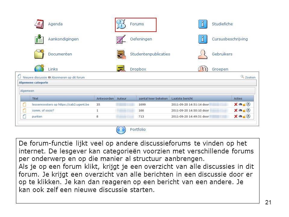 21 De forum-functie lijkt veel op andere discussieforums te vinden op het internet.