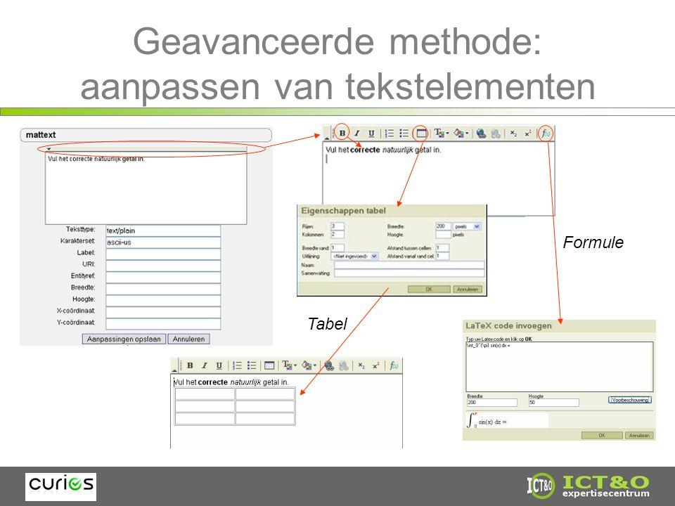 Geavanceerde methode: aanpassen van tekstelementen Tabel Formule