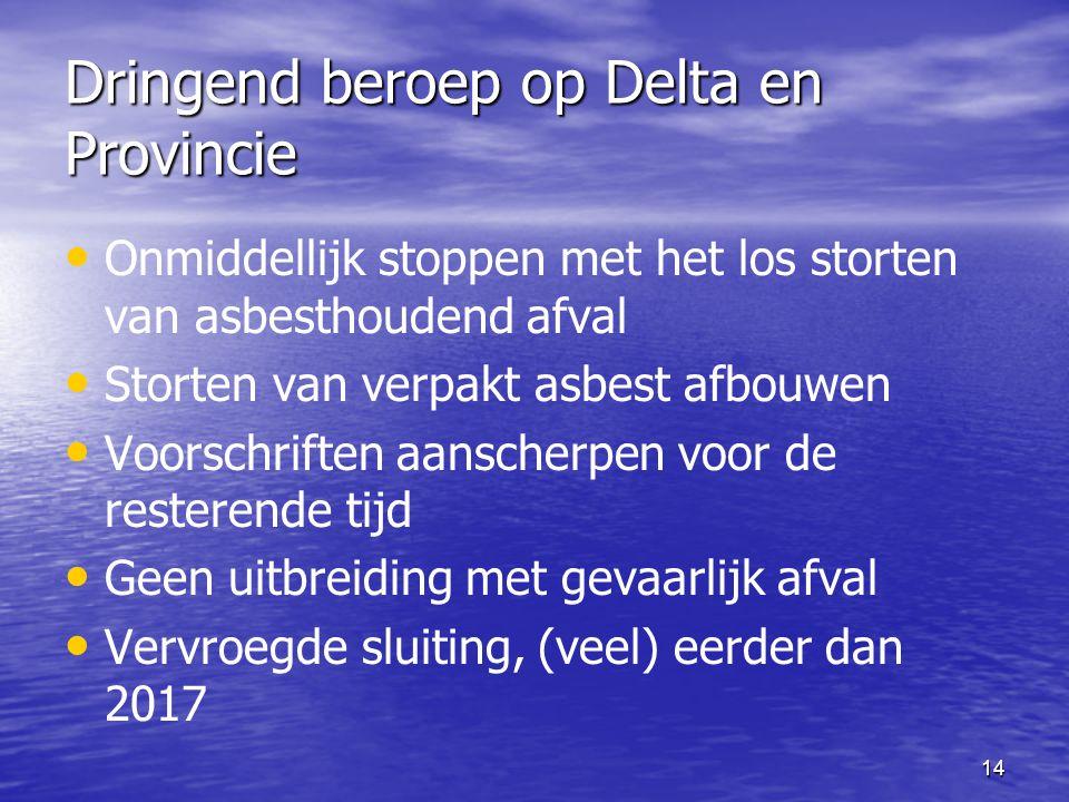 14 Dringend beroep op Delta en Provincie Onmiddellijk stoppen met het los storten van asbesthoudend afval Storten van verpakt asbest afbouwen Voorschriften aanscherpen voor de resterende tijd Geen uitbreiding met gevaarlijk afval Vervroegde sluiting, (veel) eerder dan 2017