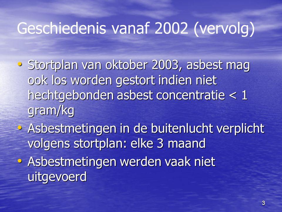 3 Geschiedenis vanaf 2002 (vervolg) Stortplan van oktober 2003, asbest mag ook los worden gestort indien niet hechtgebonden asbest concentratie < 1 gram/kg Stortplan van oktober 2003, asbest mag ook los worden gestort indien niet hechtgebonden asbest concentratie < 1 gram/kg Asbestmetingen in de buitenlucht verplicht volgens stortplan: elke 3 maand Asbestmetingen in de buitenlucht verplicht volgens stortplan: elke 3 maand Asbestmetingen werden vaak niet uitgevoerd Asbestmetingen werden vaak niet uitgevoerd