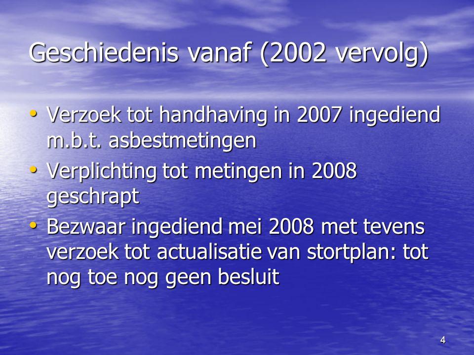 Geschiedenis vanaf (2002 vervolg) Verzoek tot handhaving in 2007 ingediend m.b.t. asbestmetingen Verzoek tot handhaving in 2007 ingediend m.b.t. asbes