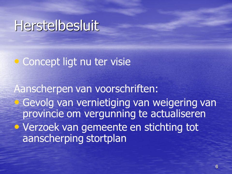 6 Herstelbesluit Concept ligt nu ter visie Aanscherpen van voorschriften: Gevolg van vernietiging van weigering van provincie om vergunning te actualiseren Verzoek van gemeente en stichting tot aanscherping stortplan