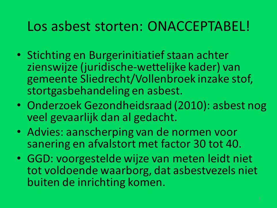 Los asbest storten: ONACCEPTABEL.