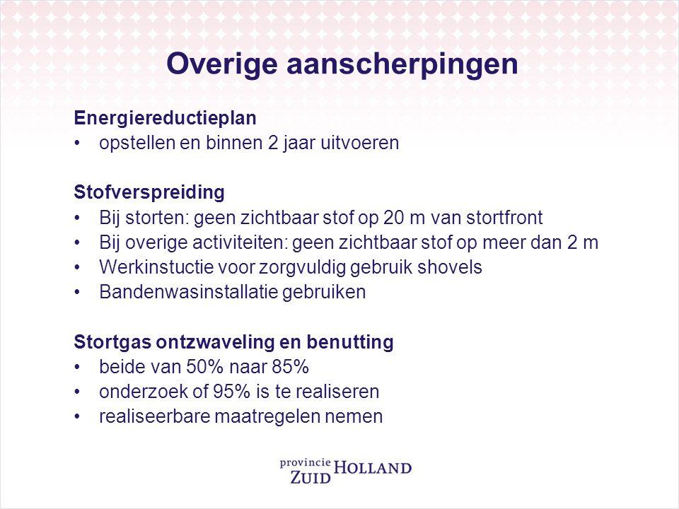 Overige aanscherpingen Energiereductieplan opstellen en binnen 2 jaar uitvoeren Stofverspreiding Bij storten: geen zichtbaar stof op 20 m van stortfro