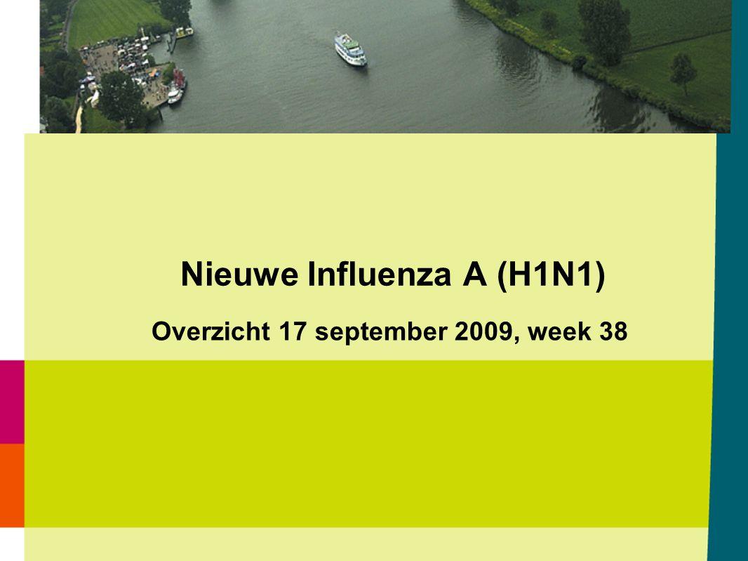 Wekelijks aantal geteste monsters met herkomst opname ziekenhuis voor Nieuwe Influenza A (H1N1) en het aantal positieve monsters voor Nieuwe Influenza A (H1N1) t/m 16 september 2009 gemeld door de virologische weekstaten 17-09-2009 Bron: Osiris / CIb