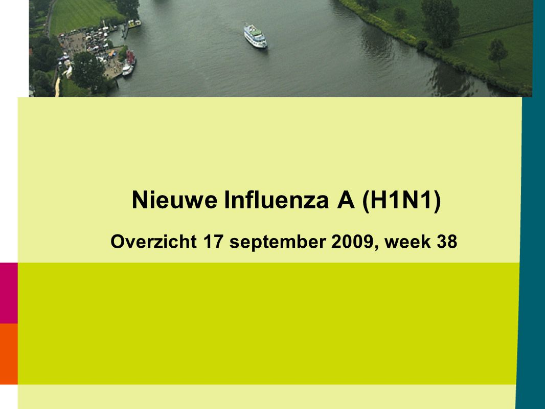 Aantal ziekenhuisopnamen wegens laboratoriumbevestigde Nieuwe Influenza A (H1N1) per dag van opname t/m 16 september 2009 (N=89) Bron: Osiris / CIb 17-09-2009