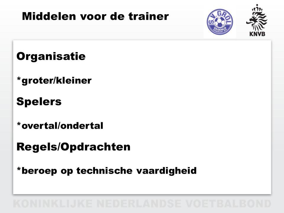 PAGINA 15 VAN 12 Organisatie *groter/kleiner Spelers *overtal/ondertal Regels/Opdrachten *beroep op technische vaardigheid Middelen voor de trainer