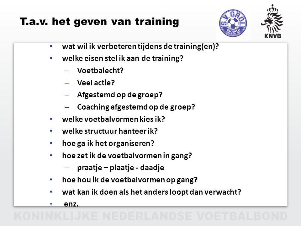 PAGINA 17 VAN 12 T.a.v. het geven van training wat wil ik verbeteren tijdens de training(en)? welke eisen stel ik aan de training? – Voetbalecht? – Ve