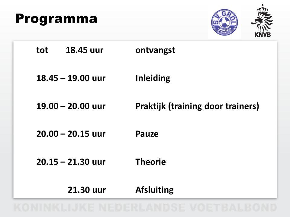 PAGINA 2 VAN 12 Programma tot 18.45 uurontvangst 18.45 – 19.00 uurInleiding 19.00 – 20.00 uurPraktijk (training door trainers) 20.00 – 20.15 uurPauze