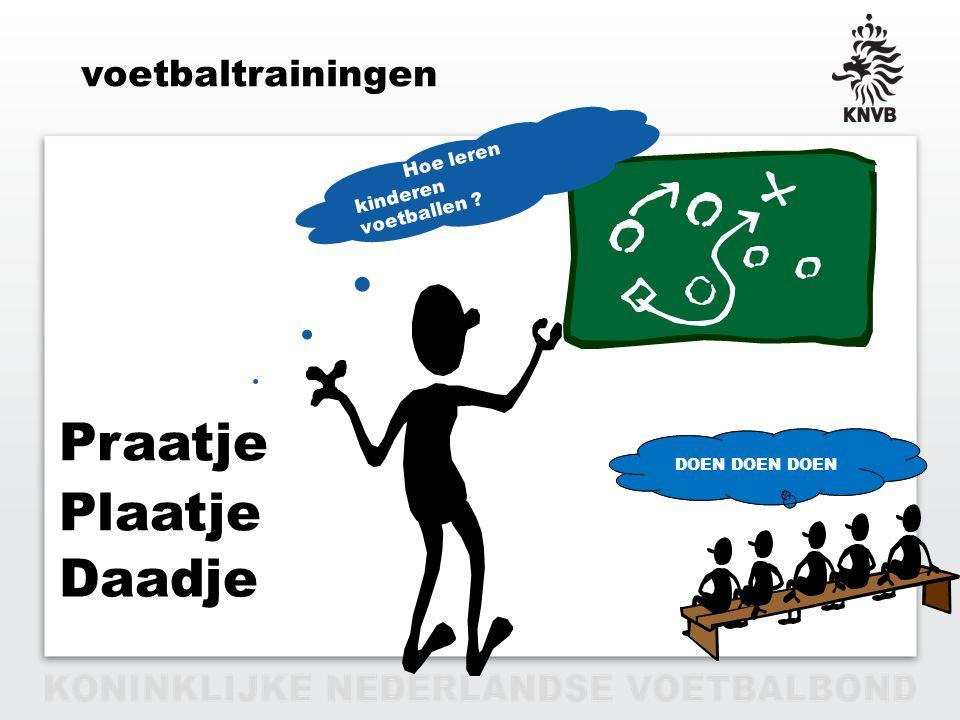 PAGINA 3 VAN 12 voetbaltrainingen Plaatje Praatje Daadje De Trainer weet het !?!? Hoe leren kinderen voetballen ? DOEN DOEN DOEN