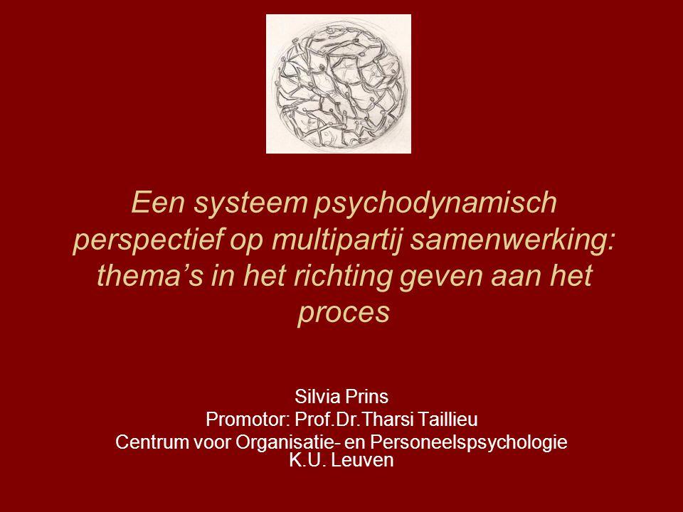 Een systeem psychodynamisch perspectief op multipartij samenwerking: thema's in het richting geven aan het proces Silvia Prins Promotor: Prof.Dr.Thars