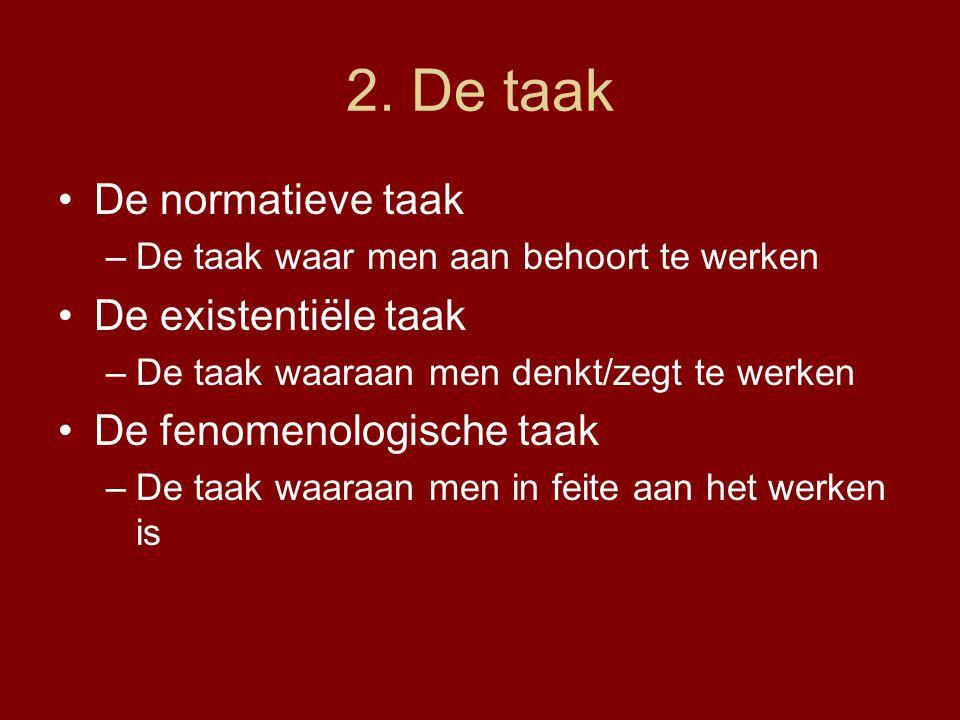 2. De taak De normatieve taak –De taak waar men aan behoort te werken De existentiële taak –De taak waaraan men denkt/zegt te werken De fenomenologisc