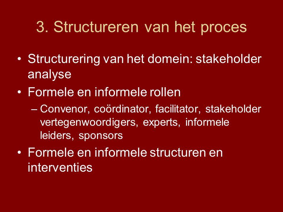 3. Structureren van het proces Structurering van het domein: stakeholder analyse Formele en informele rollen –Convenor, coördinator, facilitator, stak