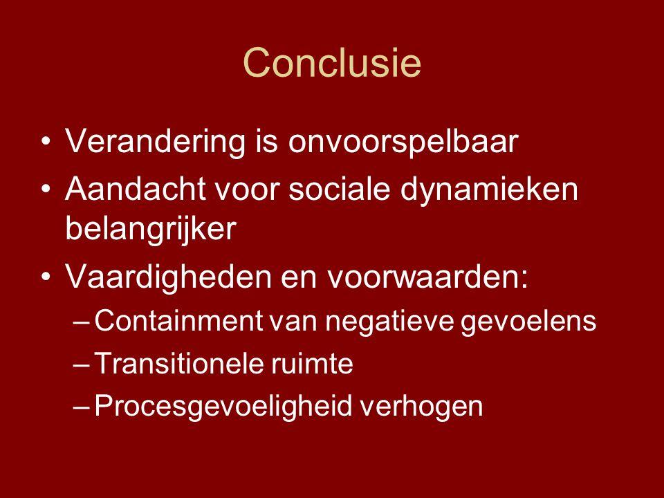 Conclusie Verandering is onvoorspelbaar Aandacht voor sociale dynamieken belangrijker Vaardigheden en voorwaarden: –Containment van negatieve gevoelen