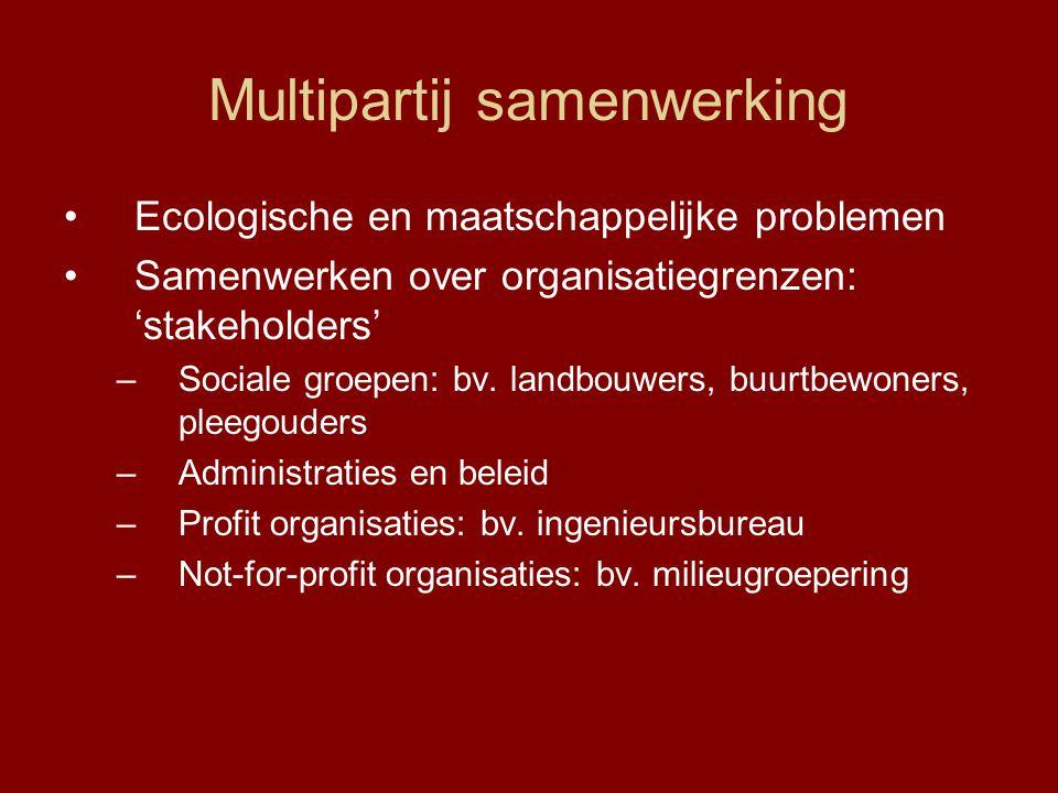 Multipartij samenwerking Ecologische en maatschappelijke problemen Samenwerken over organisatiegrenzen: 'stakeholders' –Sociale groepen: bv. landbouwe