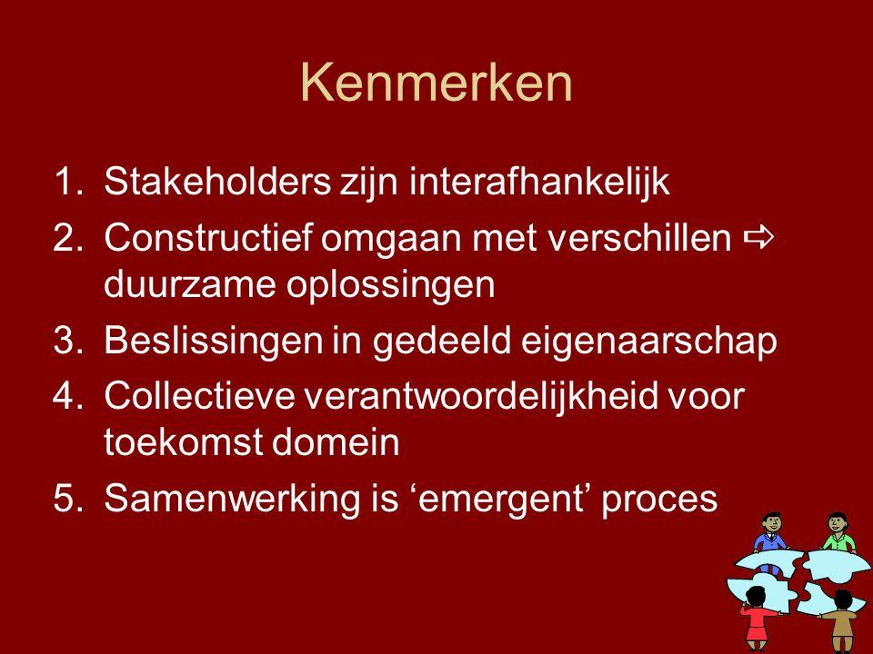 Kenmerken 1.Stakeholders zijn interafhankelijk 2.Constructief omgaan met verschillen  duurzame oplossingen 3.Beslissingen in gedeeld eigenaarschap 4.