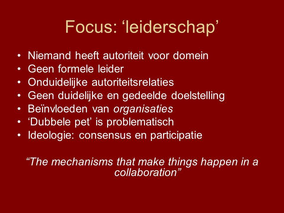 Focus: 'leiderschap' Niemand heeft autoriteit voor domein Geen formele leider Onduidelijke autoriteitsrelaties Geen duidelijke en gedeelde doelstellin