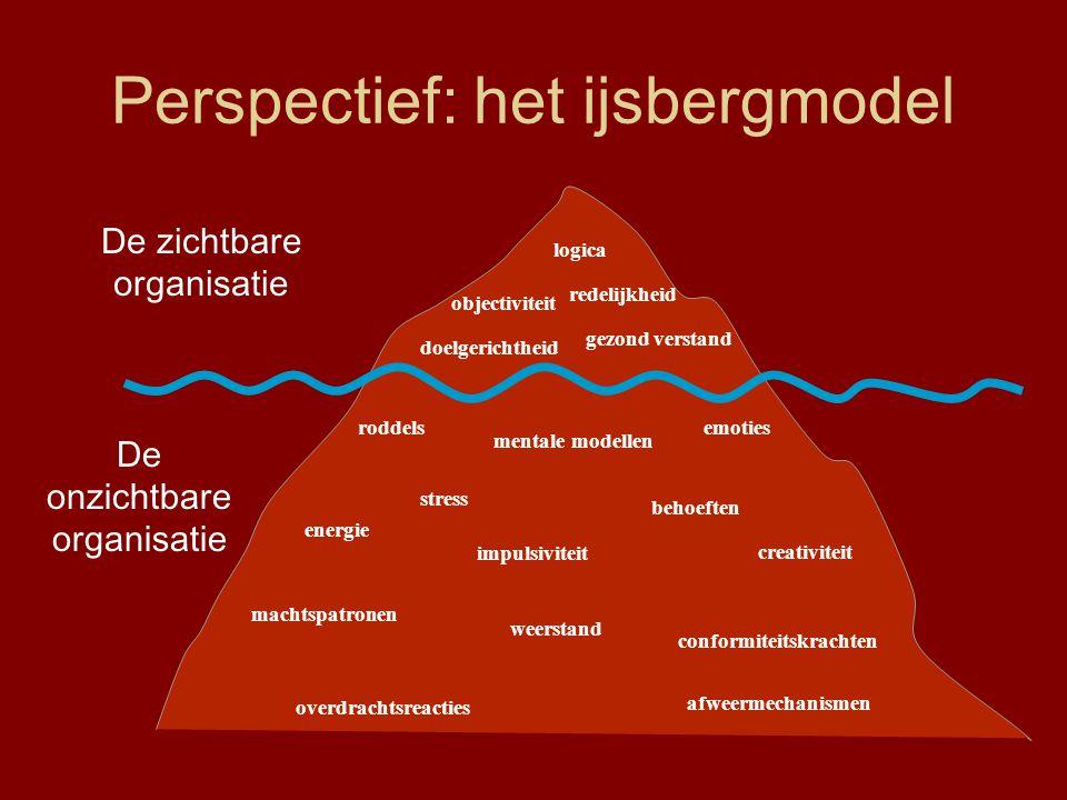 Perspectief: het ijsbergmodel logica objectiviteit gezond verstand doelgerichtheid emotiesroddels behoeften stress impulsiviteit redelijkheid machtspa