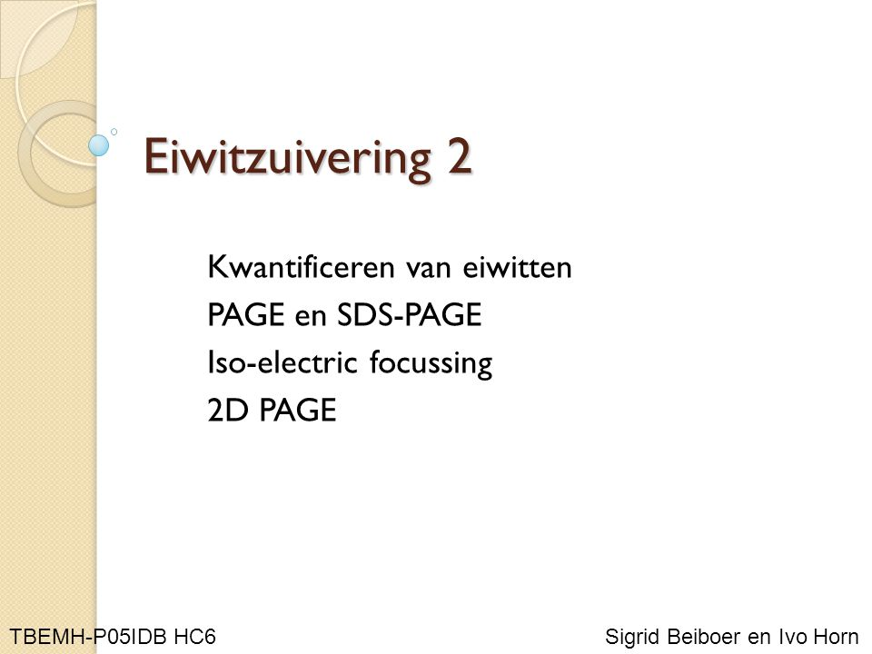 Eiwitzuivering 2 Kwantificeren van eiwitten PAGE en SDS-PAGE Iso-electric focussing 2D PAGE Sigrid Beiboer en Ivo Horn TBEMH-P05IDB HC6