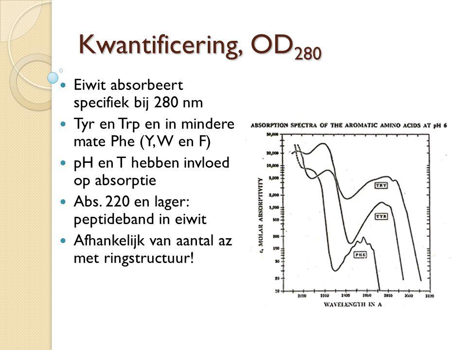 Kwantificering, OD 280 Eiwit absorbeert specifiek bij 280 nm Tyr en Trp en in mindere mate Phe (Y, W en F) pH en T hebben invloed op absorptie Abs. 22
